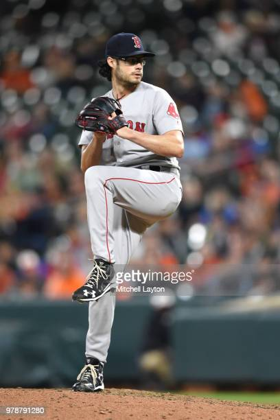 Joe Kelly of the Boston Red Sox pitches during a baseball game against the Baltimore Orioles at Oriole Park at Camden Yards on June 11 2018 in...