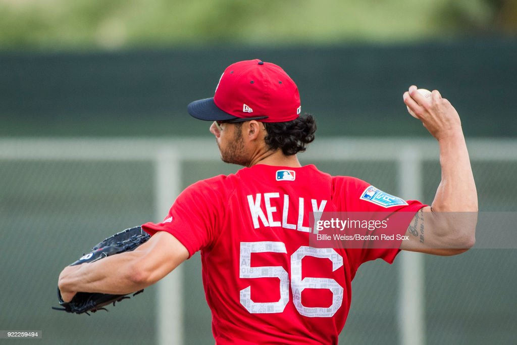 Joe Kelly #56 of the Boston Red Sox pitches during a team workout on February 21, 2018 at jetBlue Park at Fenway South in Fort Myers, Florida .