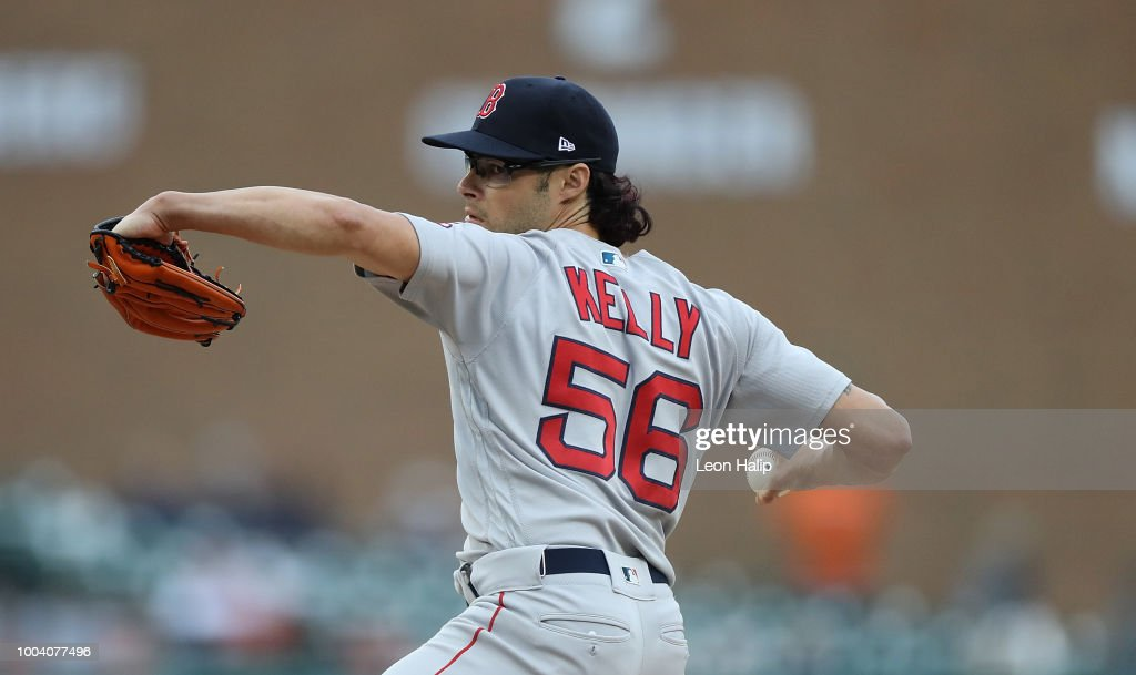 Joe Kelly #56 of the Boston Red Sox pitches during the eight inning of the game against the Detroit Tigers at Comerica Park on July 22, 2018 in Detroit, Michigan. Boston defeated Detroit 9-1.