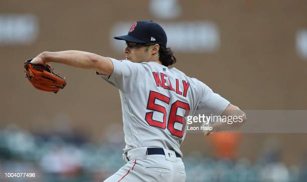 Joe Kelly of the Boston Red Sox pitches during the eight inning of the game against the Detroit Tigers at Comerica Park on July 22 2018 in Detroit...
