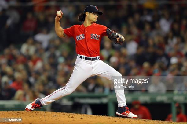 Joe Kelly of the Boston Red Sox pitches during the game against the New York Yankees at Fenway Park on Friday September 28 2018 in Boston...