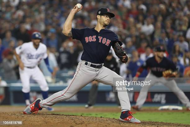 Joe Kelly of the Boston Red Sox pitches in the eighth inning during Game 5 of the 2018 World Series against the Los Angeles Dodgers at Dodger Stadium...