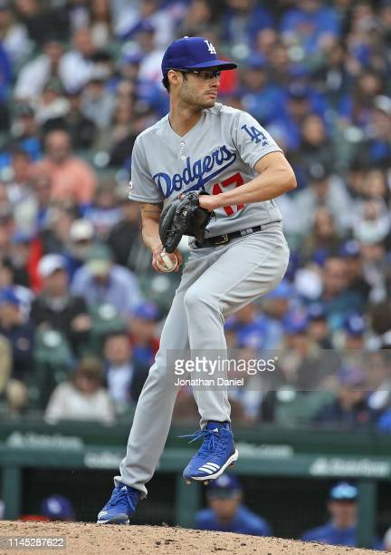 Joe Kelly of the Los Angeles Dodgers pitches against the Chicago Cubs at Wrigley Field on April 25 2019 in Chicago Illinois The Dodgers defeated the...