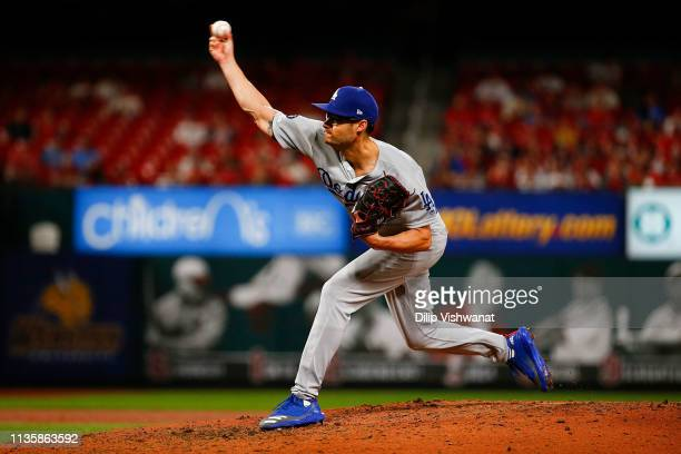 Joe Kelly of the Los Angeles Dodgers pitches against the St Louis Cardinals sixth inning at Busch Stadium on April 8 2019 in St Louis Missouri