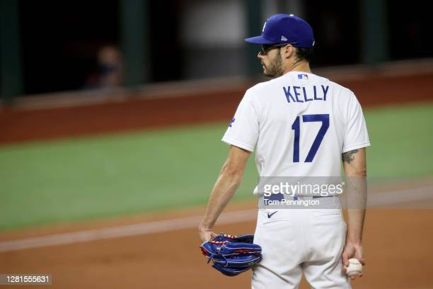 Joe Kelly of the Los Angeles Dodgers pitches against the Tampa Bay Rays during the sixth inning in Game Two of the 2020 MLB World Series at Globe...