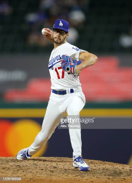 Joe Kelly of the Los Angeles Dodgers pitches during Game 1 of the 2020 World Series between the Los Angeles Dodgers and the Tampa Bay Rays at Globe...