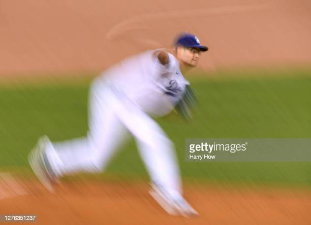 Joe Kelly of the Los Angeles Dodgers pitches during the first inning against the Oakland Athletics at Dodger Stadium on September 23, 2020 in Los...