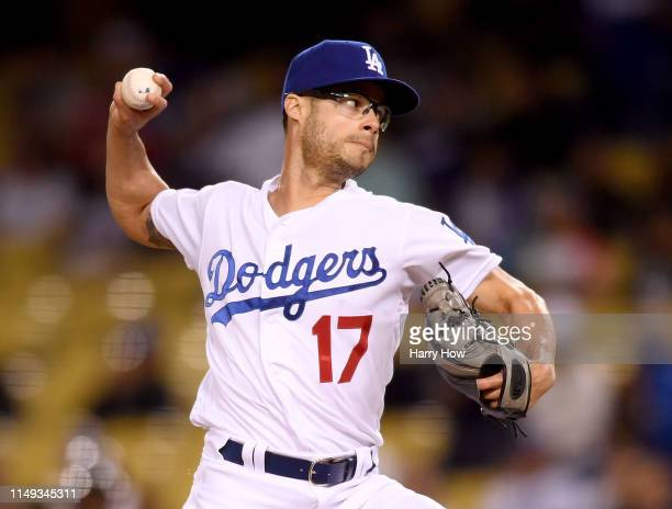 Joe Kelly of the Los Angeles Dodgers pitches in relief during the ninth inning against the Atlanta Braves at Dodger Stadium on May 08 2019 in Los...