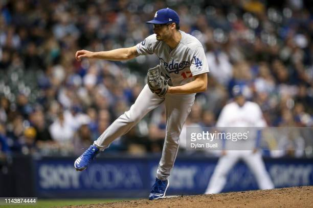 Joe Kelly of the Los Angeles Dodgers pitches in the eighth inning against the Milwaukee Brewers at Miller Park on April 19 2019 in Milwaukee Wisconsin