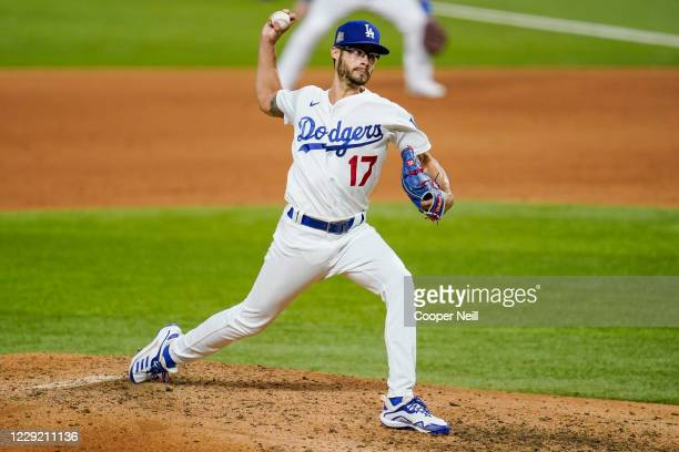 Joe Kelly of the Los Angeles Dodgers pitches in the sixth inning during Game 2 of the 2020 World Series between the Los Angeles Dodgers and the Tampa...
