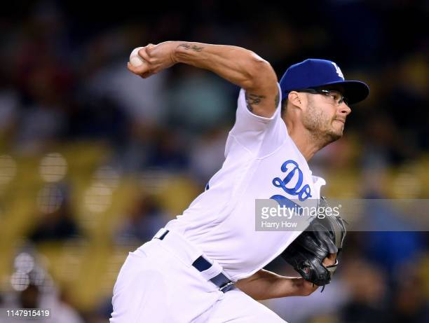 Joe Kelly of the Los Angeles Dodgers pitches the ninth inning during a 94 win over the Atlanta Braves at Dodger Stadium on May 08 2019 in Los Angeles...