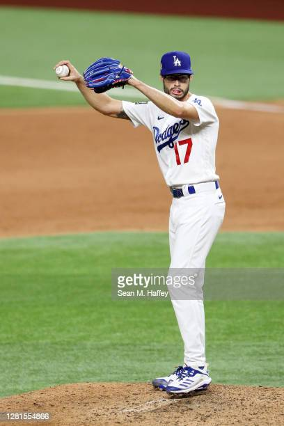 Joe Kelly of the Los Angeles Dodgers prepares to pitch against the Tampa Bay Rays during the sixth inning in Game Two of the 2020 MLB World Series at...