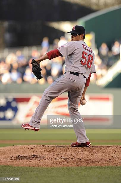 Joe Kelly of the St Louis Cardinals pitches against the Kansas City Royals on June 22 2012 at Kauffman Stadium in Kansas City Missouri The St Louis...
