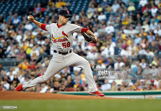 Joe Kelly of the St Louis Cardinals pitches against the Pittsburgh Pirates during the game on August 29 2012 at PNC Park in Pittsburgh Pennsylvania
