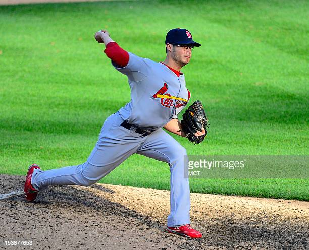 Joe Kelly of the St Louis Cardinals pitches in relief against the Washington Nationals in Game 3 of their National League Division Series on...