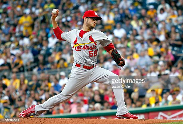 Joe Kelly of the St Louis Cardinals pitches in the first inning against the Pittsburgh Pirates during the game on August 1 2013 at PNC Park in...