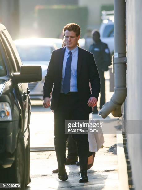 Joe Kennedy III is seen arriving at 'Jimmy Kimmel Live' on April 04 2018 in Los Angeles California