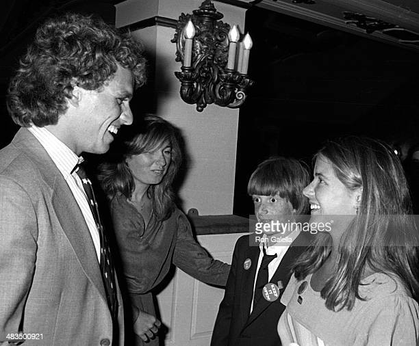Joe Kennedy Patrick Kennedy Courtney Kennedy and Kara Kennedy attend Broadway for Kennedy Campaign Rally on August 10 1980 at the Shubert Theater in...