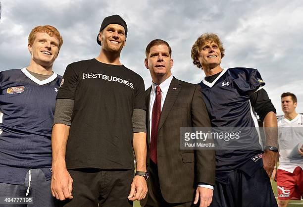Joe Kennedy Tom Brady Marty Walsh and Anthony Shriver attend the Tom Brady Football Challenge for the Best Buddies Challenge Hyannis Port at Harvard...