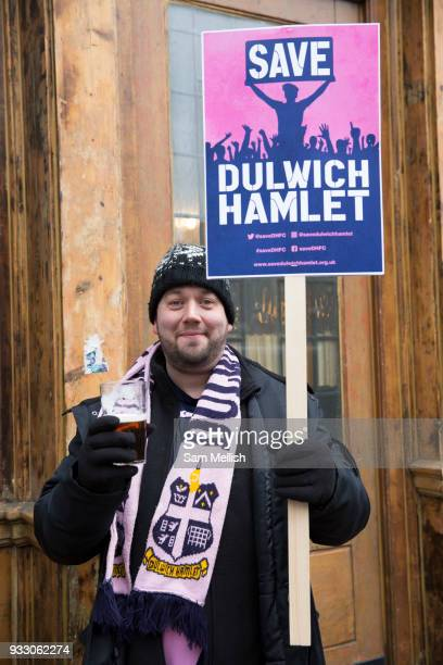 Joe Kensington a fan of Dulwich Hamlet Football Club during a protest march from Goose Green to Champion Hill on 17th March 2018 in South London in...