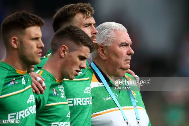 Joe Kernan coach of Ireland looks on as the national anthems are sung during game two of the International Rules Series between Australia and Ireland...
