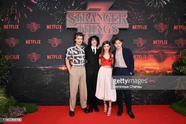 Joe Kerry, Finn Wolfhard, Natalia Dyer and Joe Kerry attend the Stranger Night Paris At Le Grand Rex on July 04, 2019 in Paris, France.