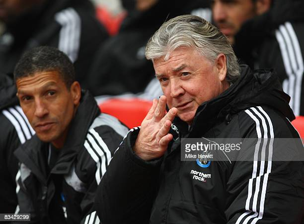 Joe Kinnear and Chris Houghton of Newcastle look on during the Barclays Premier League match between Sunderland and Newcastle United at the Stadium...