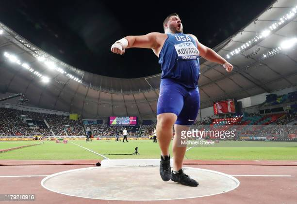 Joe Kovacs, gold, of the United States celebrates his championship record in the Men's Shot Put final during day nine of 17th IAAF World Athletics...