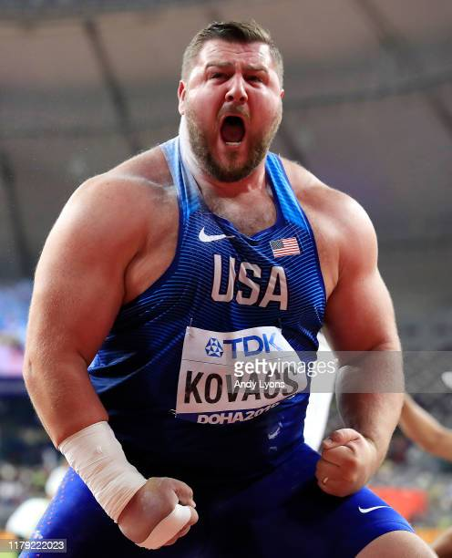 Joe Kovacs gold of the United States celebrates his championship record in the Men's Shot Put final during day nine of 17th IAAF World Athletics...