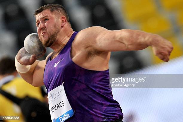 Joe Kovacs of the United States competes in the men's Shot Put during the Doha IAAF Diamond League 2015 at Qatar Sports Club on May 15, 2015 in Doha,...