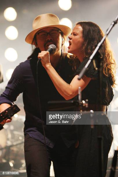 Joe Kwon and Tania Elizabeth of The Avett Brothers perform at Red Rocks Amphitheatre on July 7 2017 in Morrison Colorado