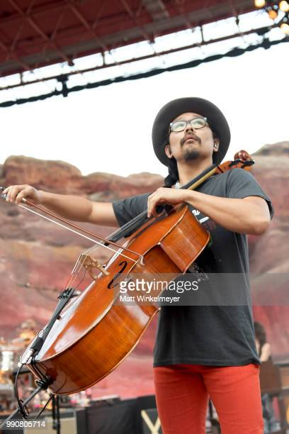 MORRISON CO JULY 1 Joe Kwon of The Avett Brothers at Red Rocks Amphitheatre on July 1 2018 in Morrison Colorado