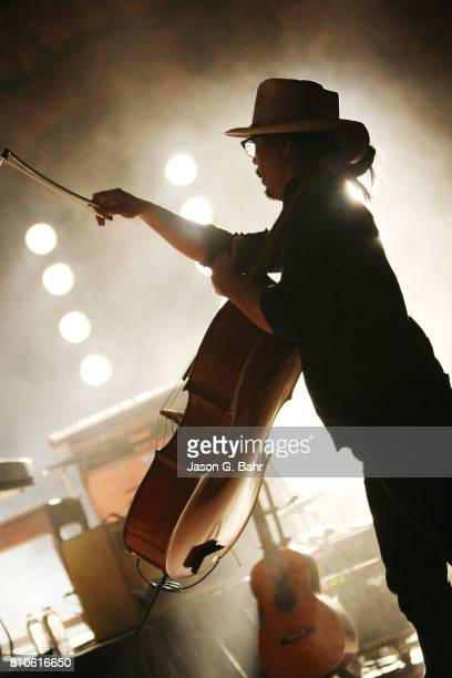 Joe Kwon of The Avett Brothers performs at Red Rocks Amphitheatre on July 7 2017 in Morrison Colorado