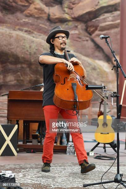 Joe Kwon of The Avett Brothers performs at Red Rocks Amphitheatre on July 1 2018 in Morrison Colorado