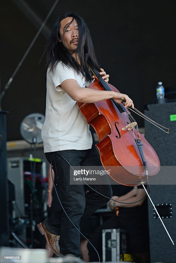 Joe Kwon of The Avett Brothers performs during the Rock The Oceans Tortuga Festival on April 14, 2013 in Fort Lauderdale, Florida.