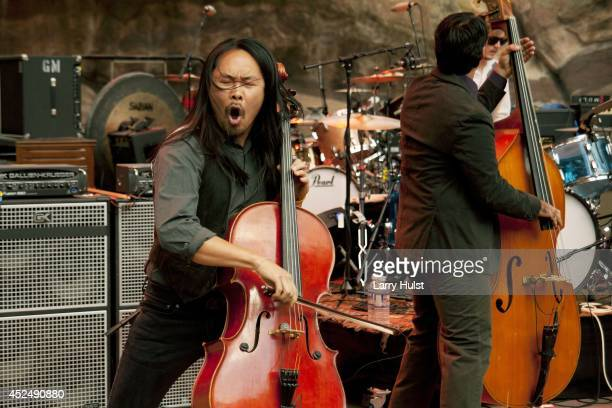 Joe Kwon performs with the 'Avett Brothers' at Red Rocks Amplitheater in Morrison Colorado on September 2 2010