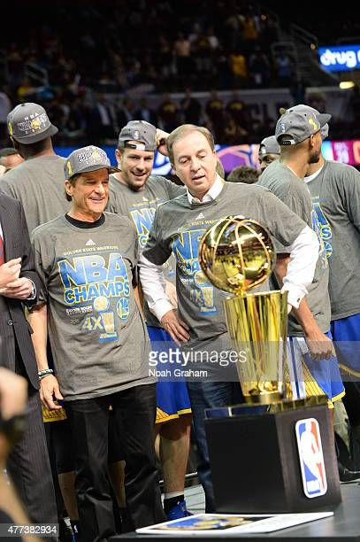 Joe Lacob and Peter Guber owners of the Golden State Warriors celebrate winning the Larry O'Brein Trophy after Game Six of the 2015 NBA Finals...