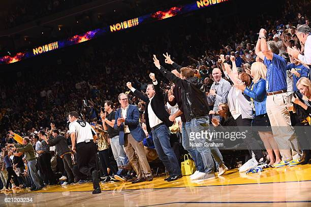 Joe Lacob owner of the Golden State Warriors celebrates during the game against the Oklahoma City Thunder on November 3 2016 at ORACLE Arena in...