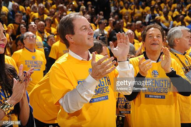 Joe Lacob owner of the Golden State Warriors during the game against the New Orleans Pelicans during Game Two of the Western Conference Quarterfinals...