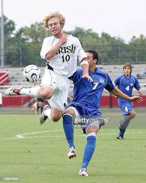 Joe Lapira leaps high to get the ball away from Rob Viviano. After double over time Notre Dame and St. Louis University had to settle for a 0-0 tie...
