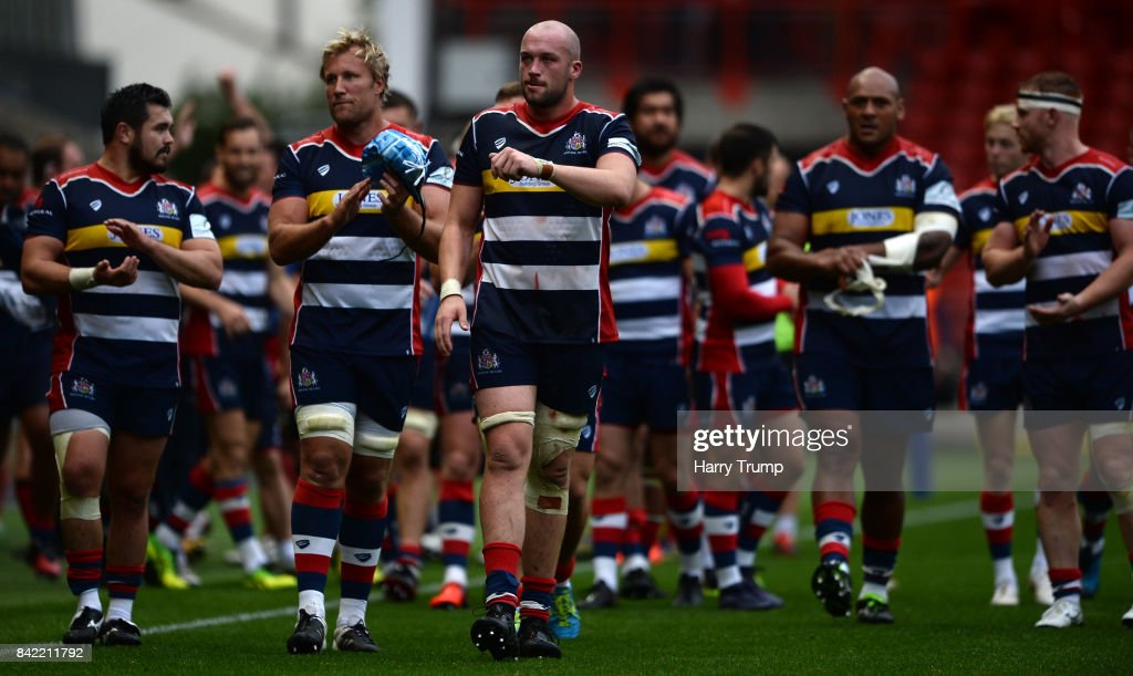 Joe Latta of Bristol Rugby(C) applauded the fans at the final whistle during the Greene King IPA Championship match between Bristol Rugby and Hartpury College at Ashton Gate on September 3, 2017 in Bristol, England.