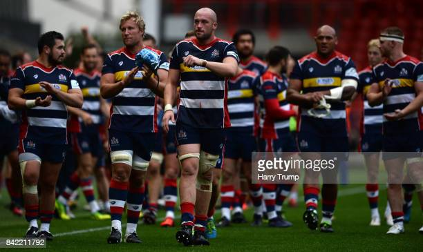 Joe Latta of Bristol Rugby applauded the fans at the final whistle during the Greene King IPA Championship match between Bristol Rugby and Hartpury...