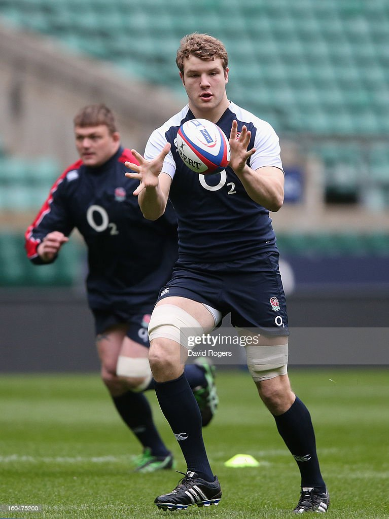 Joe Launchbury catches the ball during the England captain's run at Twickenham Stadium on February 1, 2013 in London, England.
