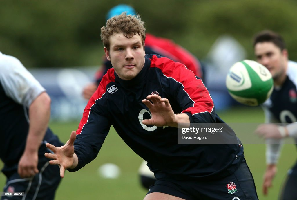 Joe Launchbury catches the ball during the England training session held at Pennyhill Park on February 6, 2013 in Bagshot, England.
