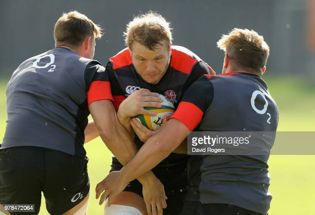 Mike Brown passes the ball tackles during the England training session held at Kings Park on June 19 2018 in Durban South Africa