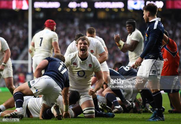 Joe Launchbury of England celebrates his sides fifth try during the RBS Six Nations match between England and Scotland at Twickenham Stadium on March...