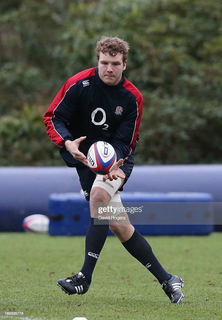 Joe Launchbury passes the ball during the England training session at Pennyhill Park on January 29, 2013 in Bagshot, England.