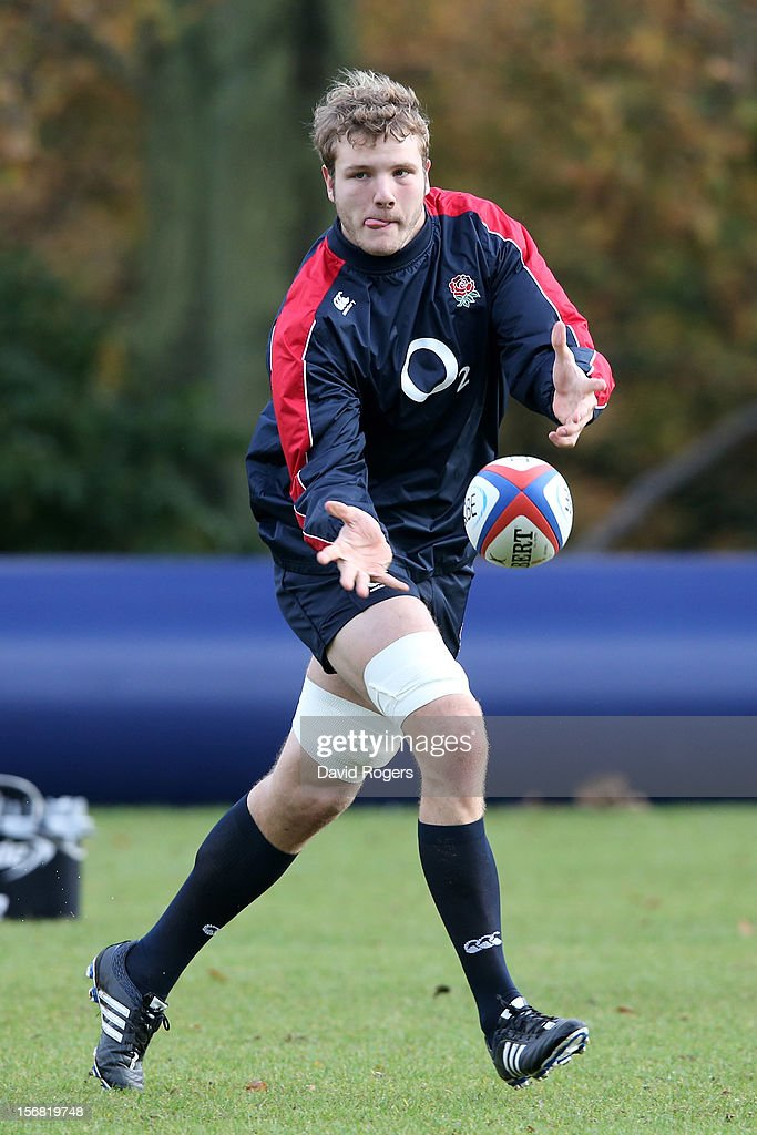 Joe Launchbury runs through drills during the England training session at Pennyhill Park on November 22, 2012 in Bagshot, England.