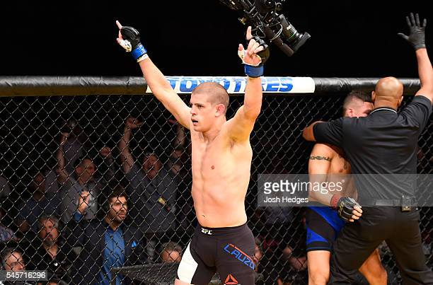 Joe Lauzon reacts to his vicotry over Diego Sanchez in their lightweight bout during the UFC 200 event on July 9, 2016 at T-Mobile Arena in Las...