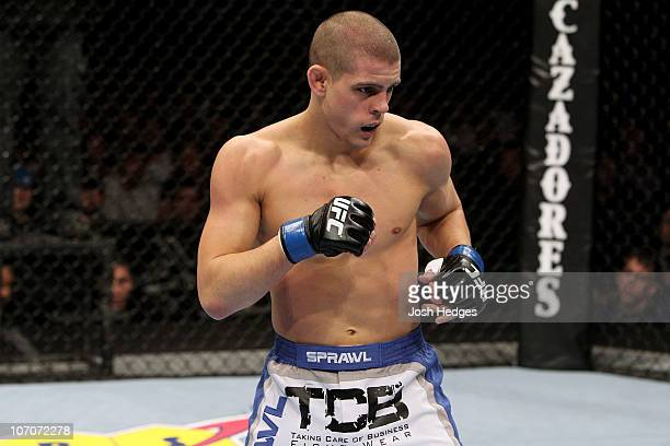 Joe Lauzon readies to fight against George Sotiropoulos during their Lightweight bout part of UFC 123 at the Palace of Auburn Hills on November 20,...